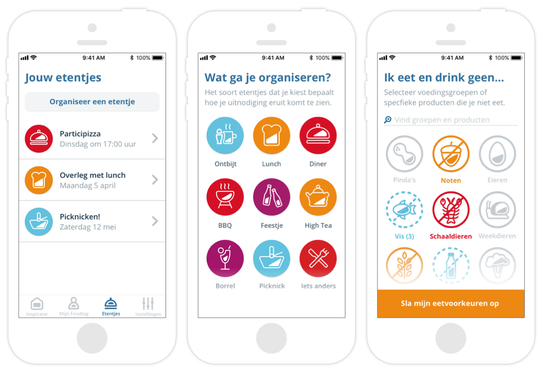 Screenshots van de applicatie Foodtag op een iPhone